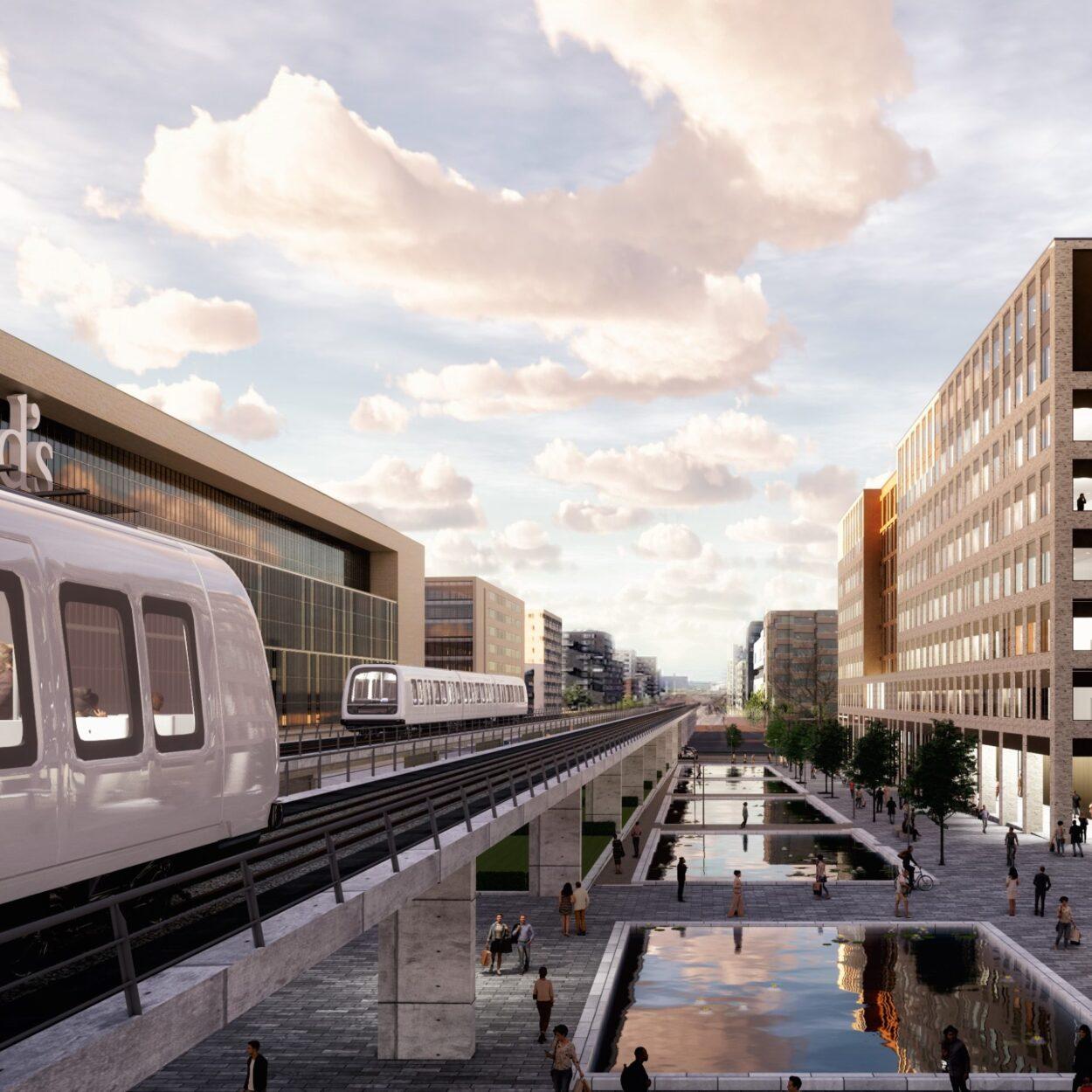 Kay Fiskers Plads set fra Ørestad metrostation